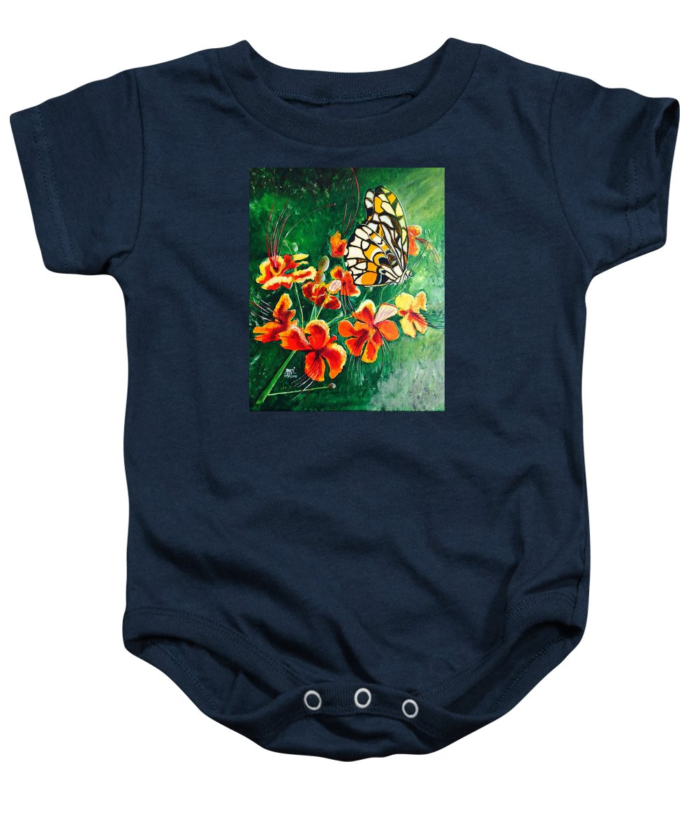 Garden Baby Onesie featuring the painting Amongst The Greenery by Aarti Bartake
