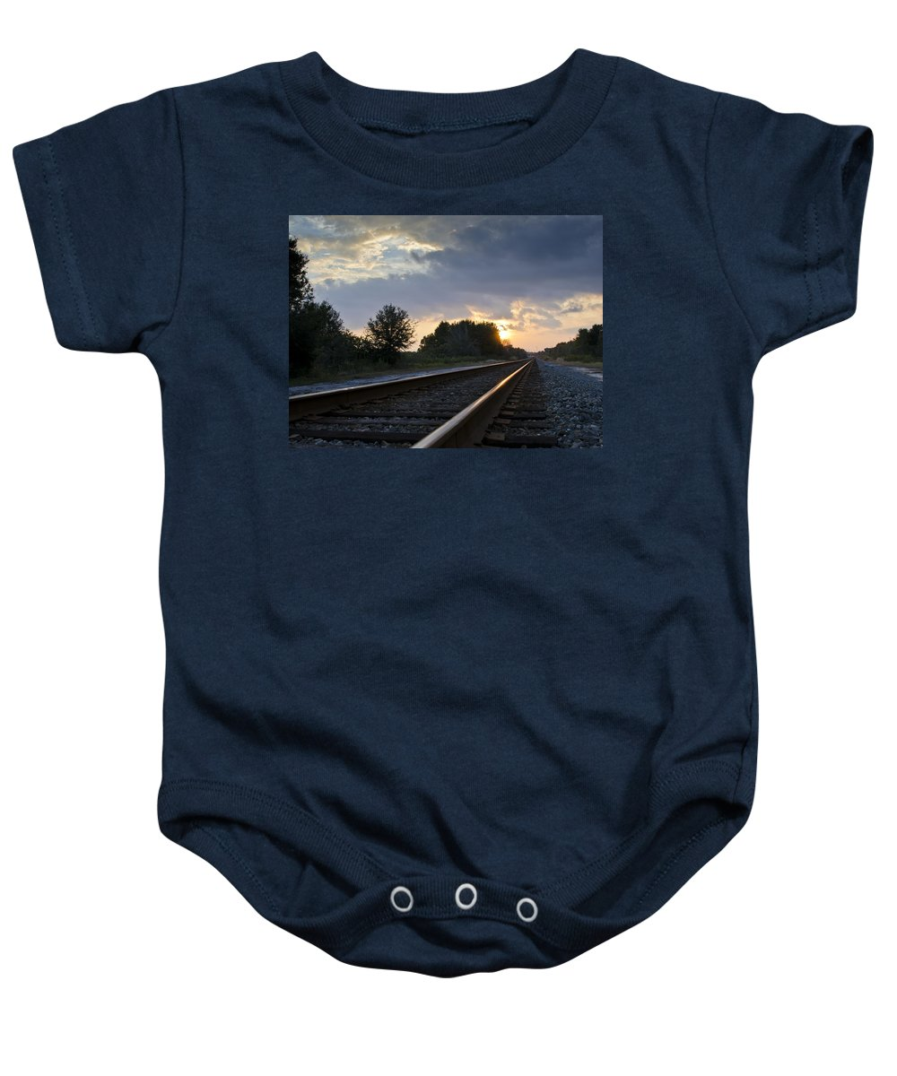 Train Baby Onesie featuring the photograph Amtrak Railroad System by Carolyn Marshall