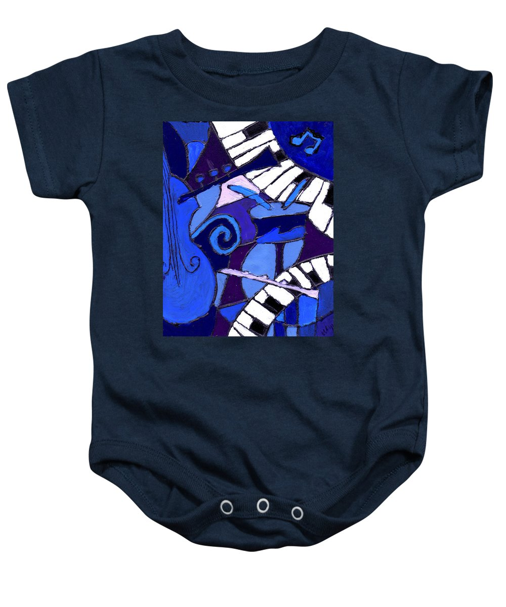 Blues Baby Onesie featuring the painting and All that Jazz 3 by Wayne Potrafka