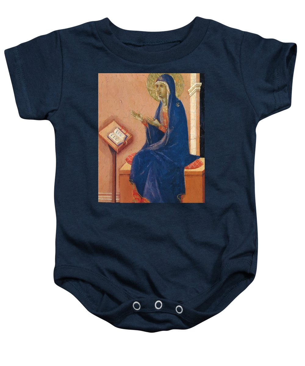Annunciation Baby Onesie featuring the painting Annunciation Fragment 1311 by Duccio