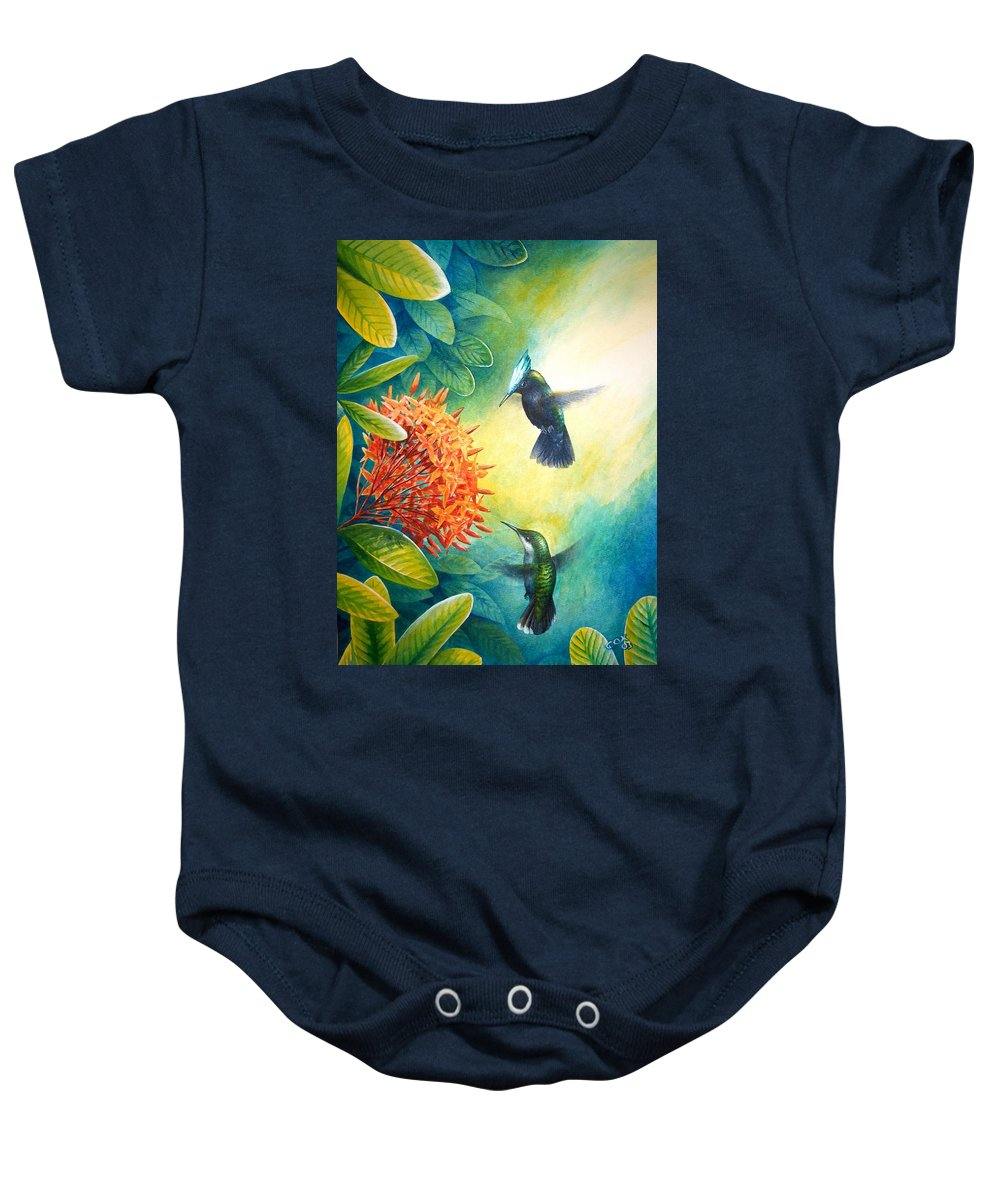 Chris Cox Baby Onesie featuring the painting Antillean Crested Hummingbirds And Ixora by Christopher Cox