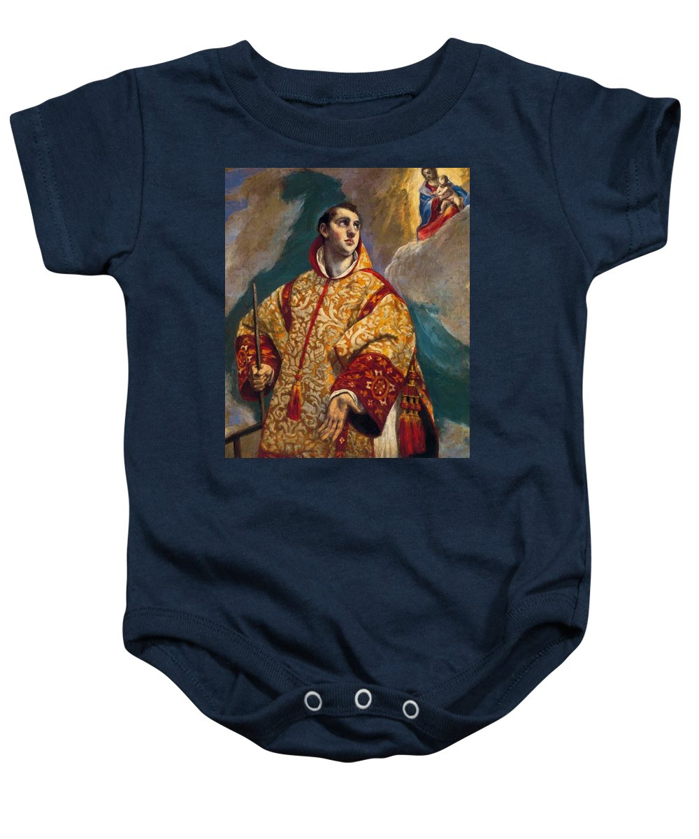 Apparition Baby Onesie featuring the painting Apparition Of The Virgin To St Lawrence by El Greco
