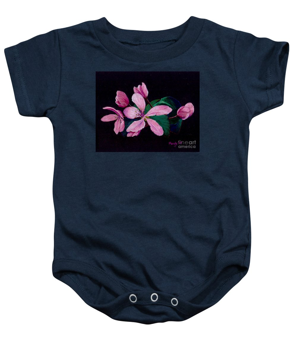 Apple Baby Onesie featuring the pastel Apple Blossoms by Mendy Pedersen