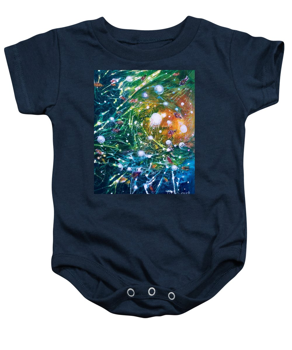Abstracts Baby Onesie featuring the painting Aquarium Galaxy by David Ackerson