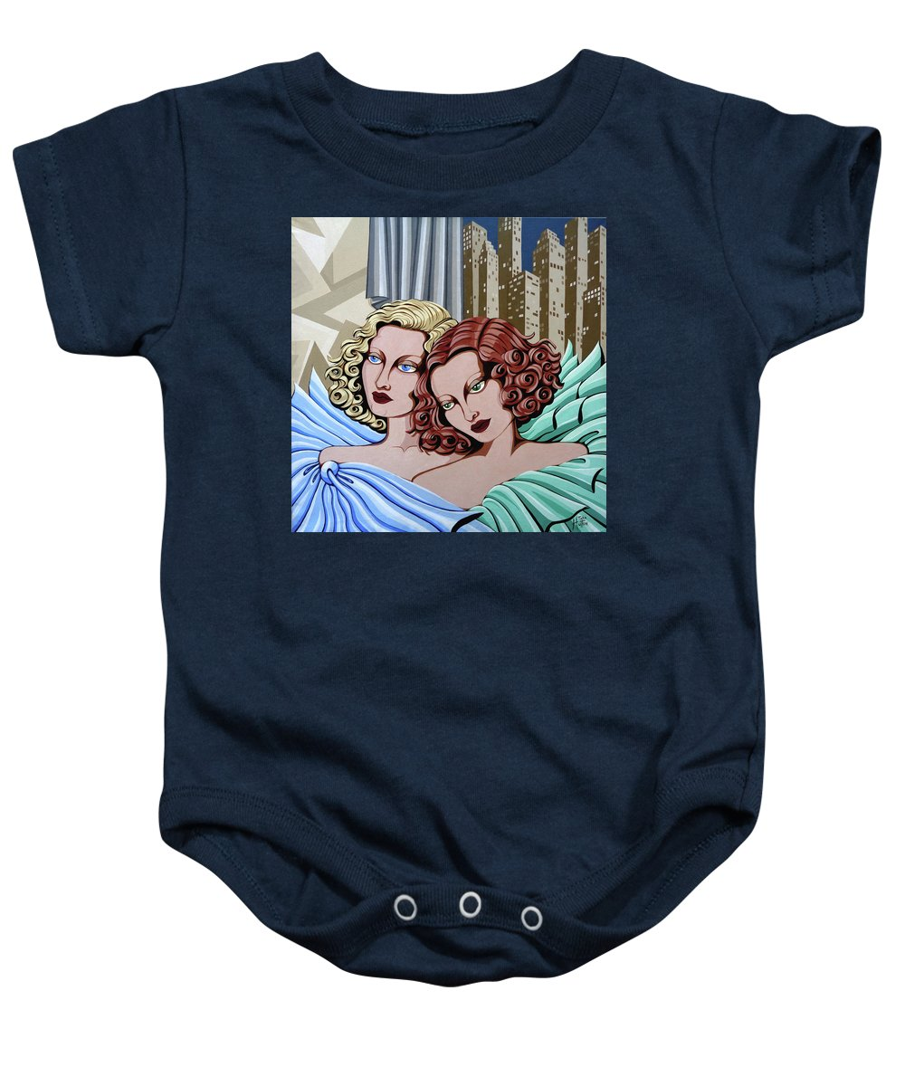 Portrait Baby Onesie featuring the painting Arielle And Gabrielle by Tara Hutton