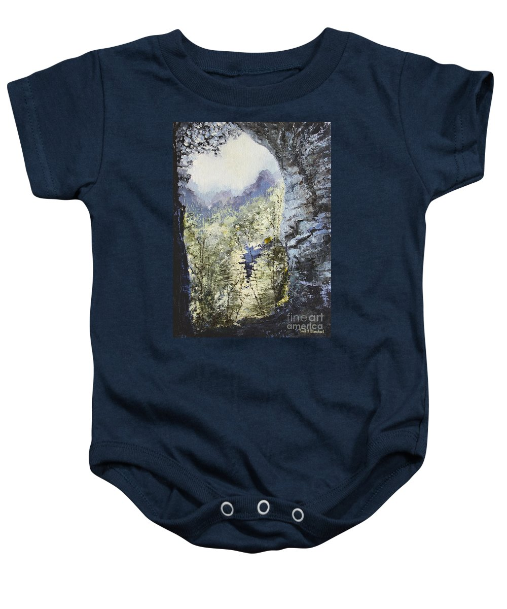 Landscape Baby Onesie featuring the painting Around The Bend by Todd A Blanchard