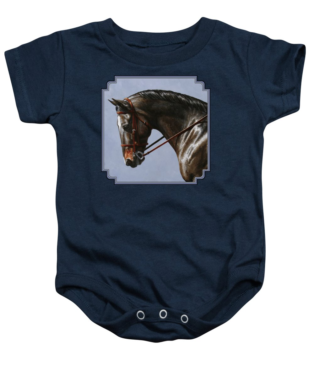 Horse Baby Onesie featuring the painting Horse Painting - Discipline by Crista Forest