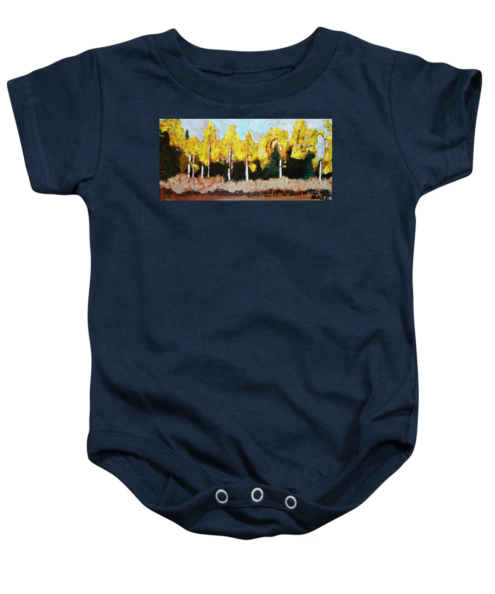 Fall Baby Onesie featuring the painting Aspens by Kurt Hausmann