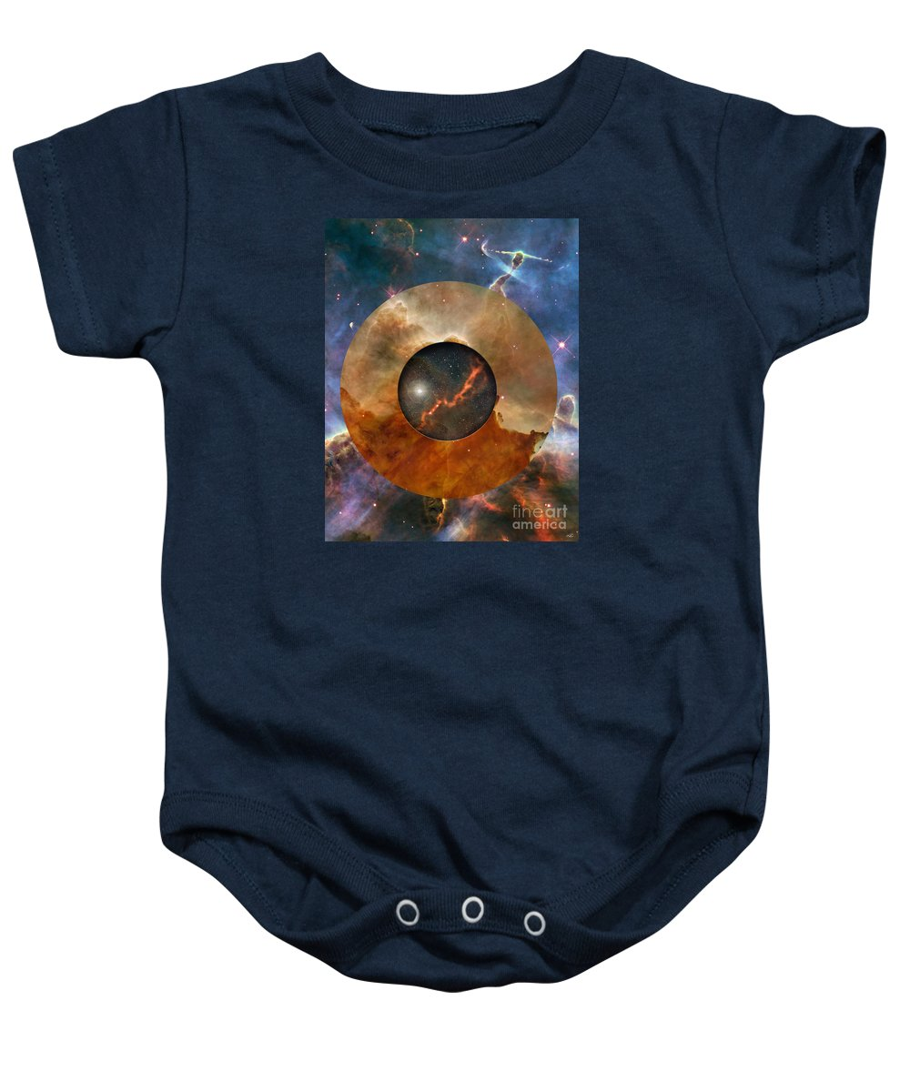 astral Abstraction Baby Onesie featuring the digital art Astral Abstraction I by Kenneth Rougeau