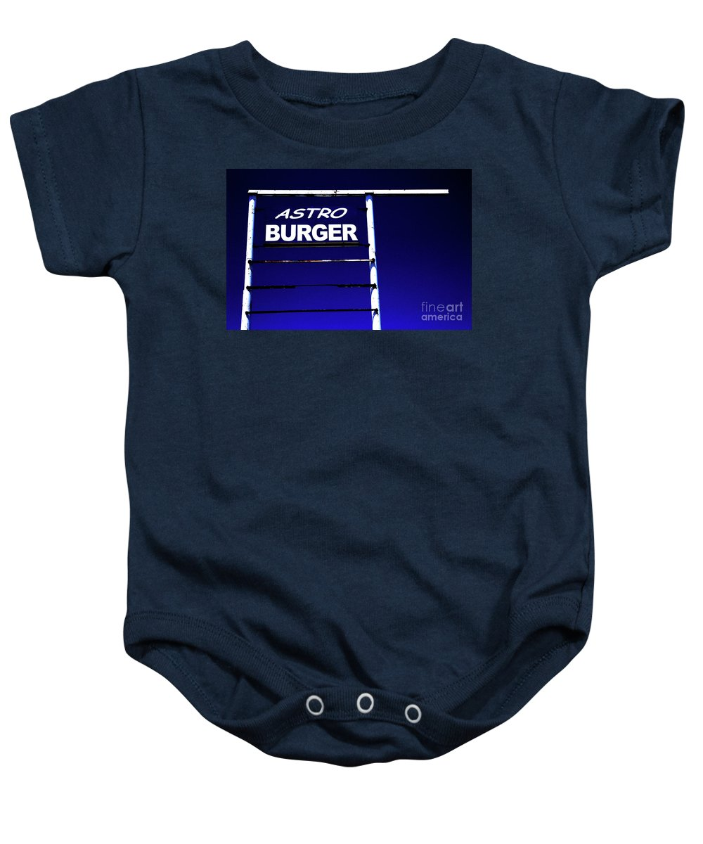 Sign Baby Onesie featuring the photograph Astro Burger by Jim And Emily Bush