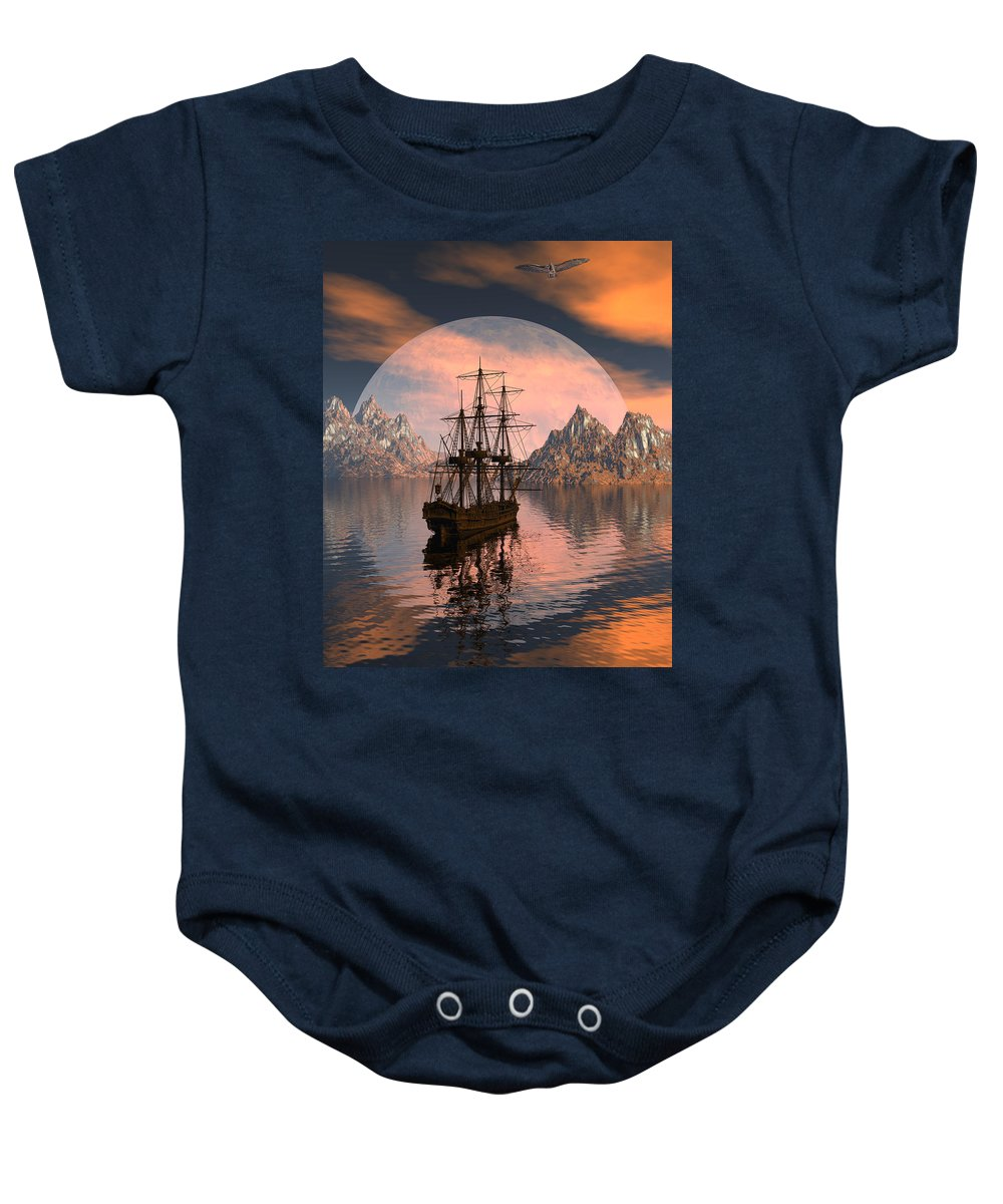 Bryce 3d Digital Fantasy Scifi Windjammer Sailing Baby Onesie featuring the digital art At Anchor by Claude McCoy
