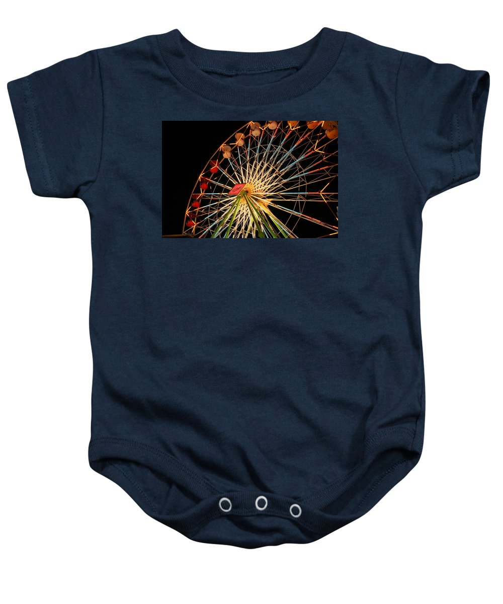 Ferris Wheel Baby Onesie featuring the photograph At The County Fair by Joe Kozlowski