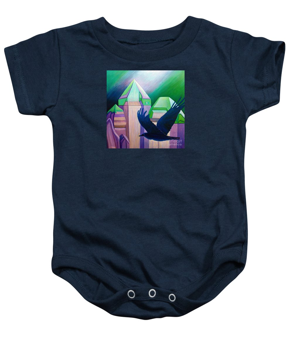 Crystals Baby Onesie featuring the painting Atlantis by Brian Commerford