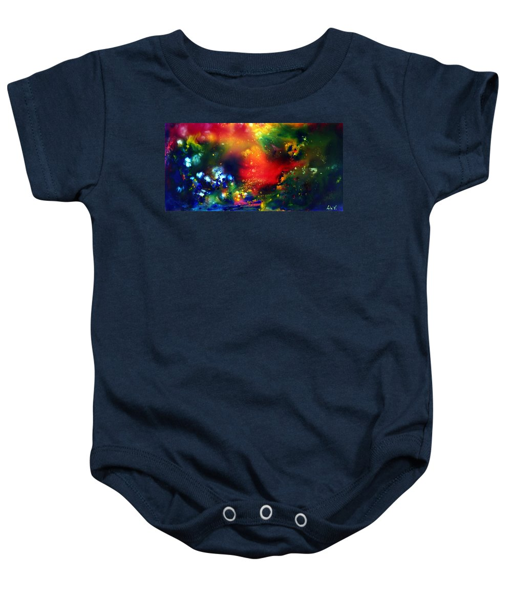 Abstract Baby Onesie featuring the painting Aurora Borealis by Luiza Vizoli