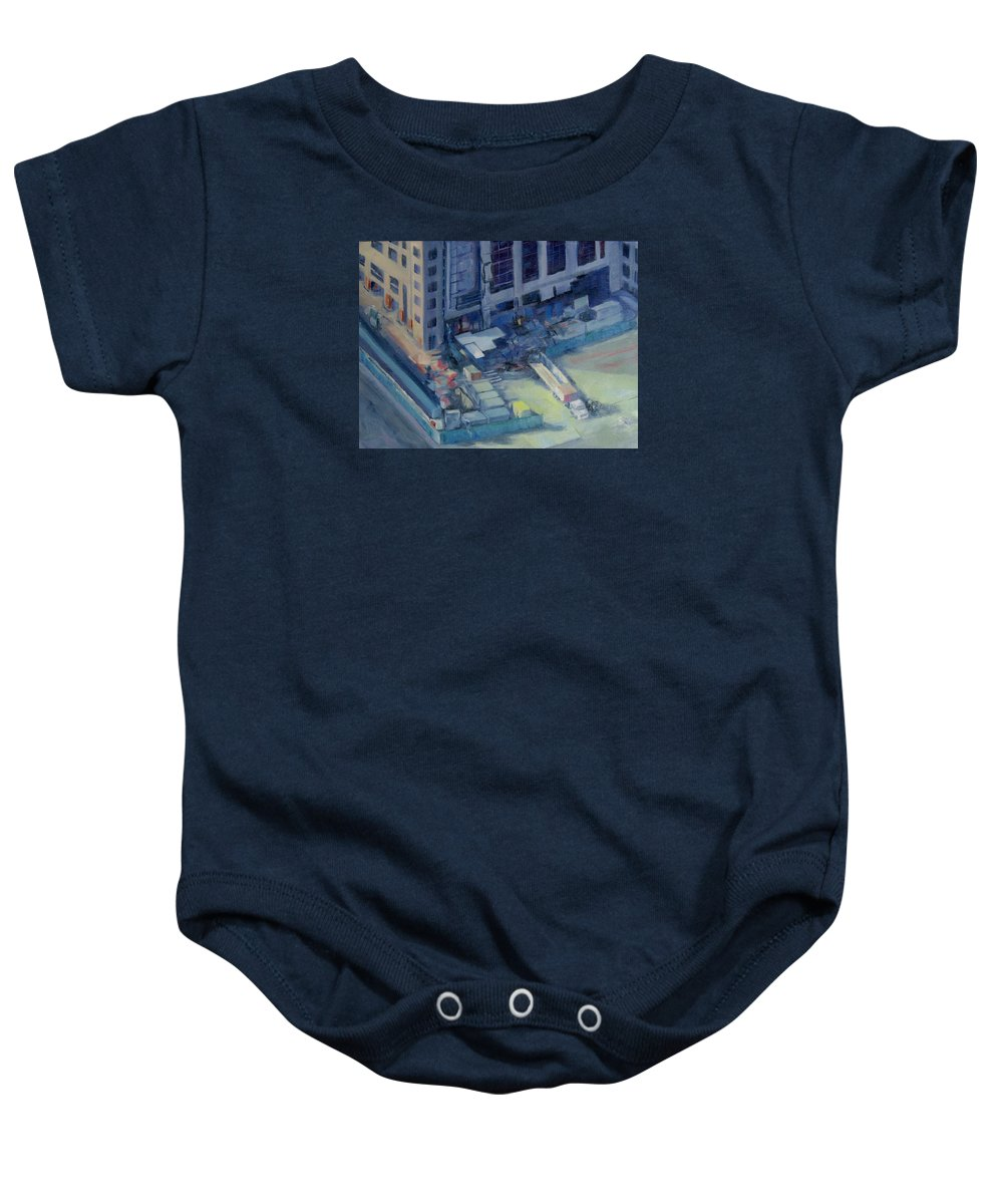 Austin Baby Onesie featuring the painting Austonian In Progress by Connie Schaertl
