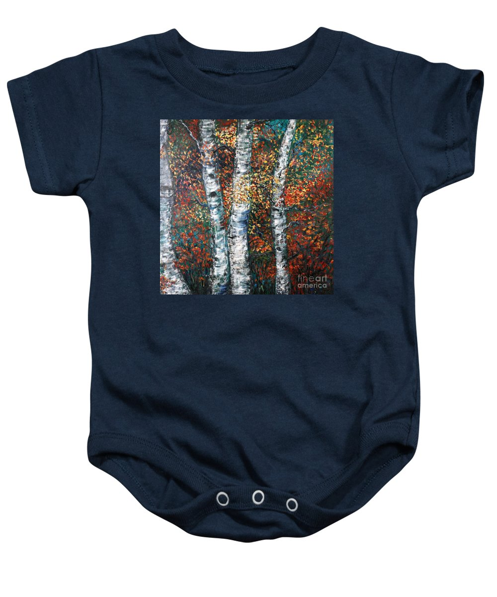 Birch Baby Onesie featuring the painting Autumn Birch by Nadine Rippelmeyer