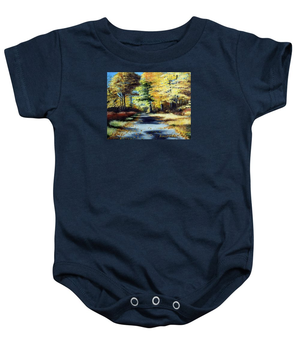 Landscape Baby Onesie featuring the painting Autumn Colors by Paul Walsh