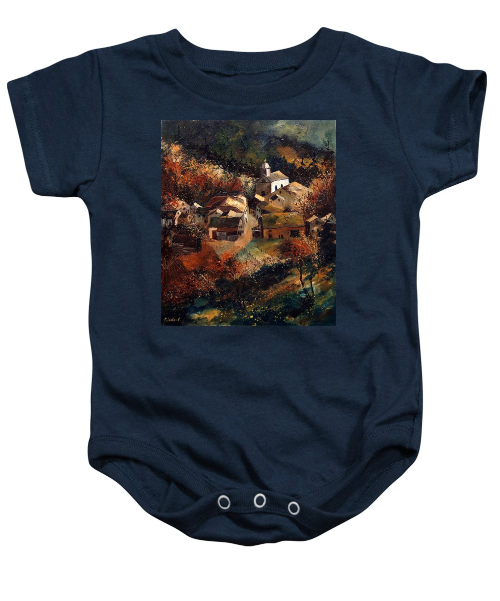 Tree Baby Onesie featuring the painting Autumn In Frahan by Pol Ledent