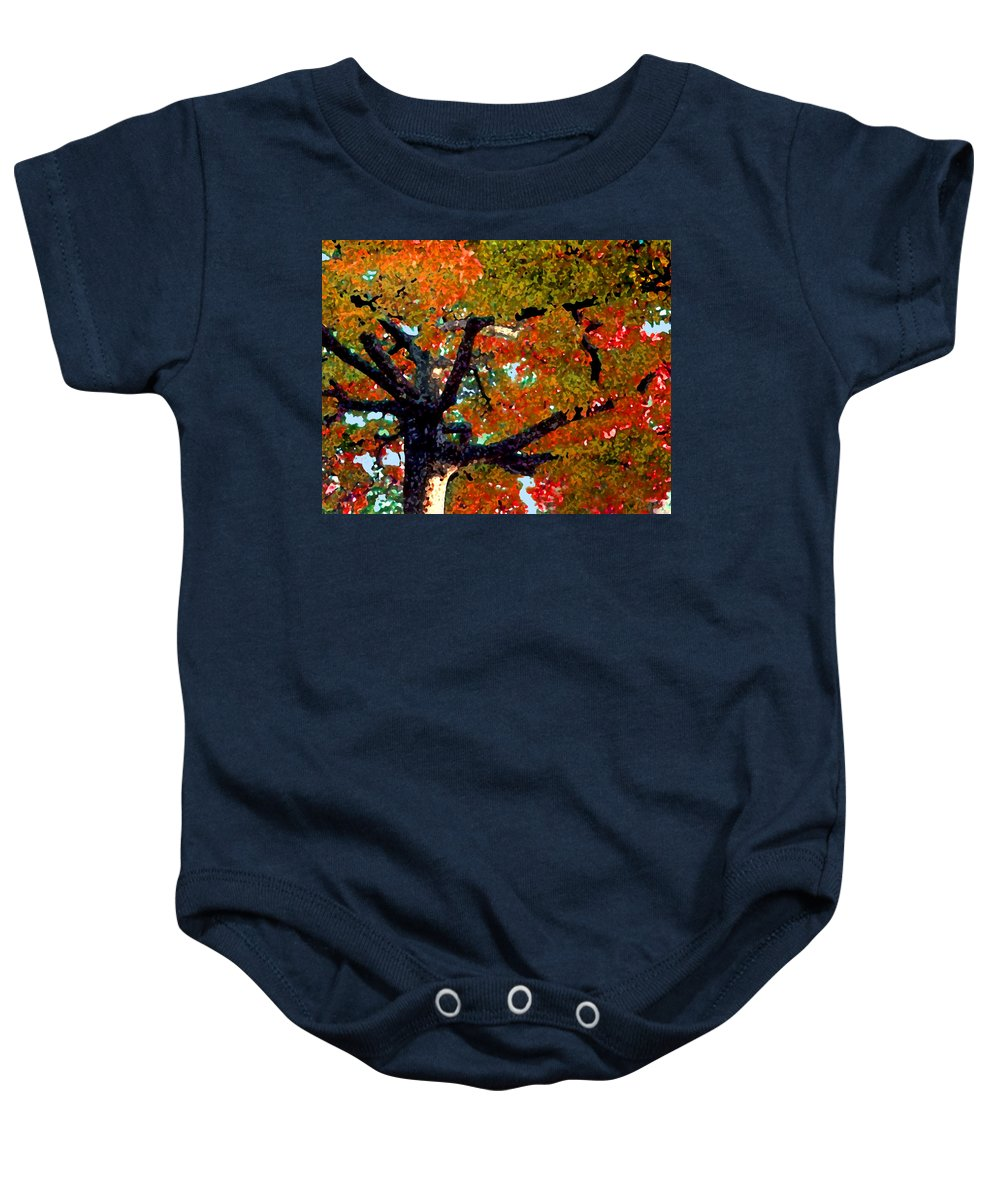Fall Baby Onesie featuring the photograph Autumn Tree by Steve Karol