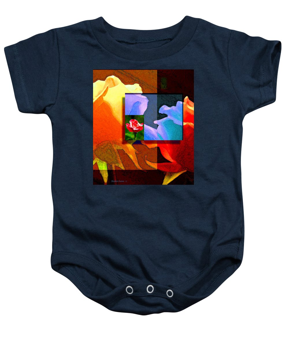 Modern Baby Onesie featuring the digital art Backlit Roses by Stephen Lucas