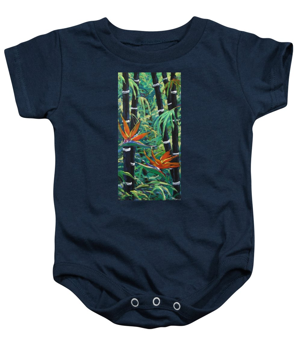 Bamboo Baby Onesie featuring the painting Bamboo And Birds Of Paradise by Richard T Pranke