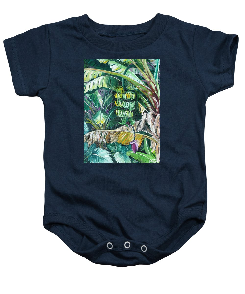 Caribbean Painting Bananas Trees P Painting Fruit Painting Tropical Painting Baby Onesie featuring the painting Bananas by Karin Dawn Kelshall- Best