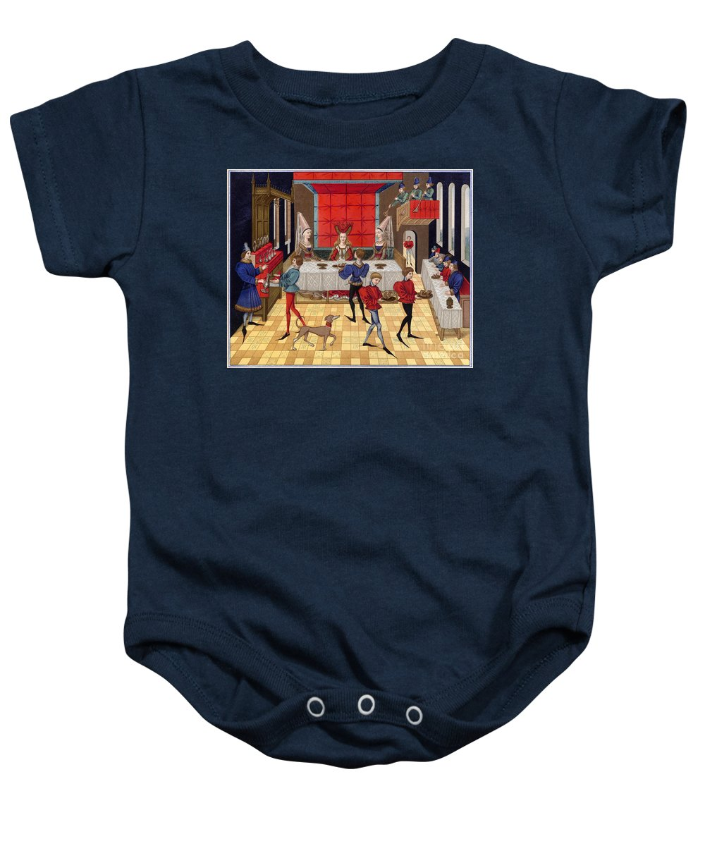 15th Century Baby Onesie featuring the photograph Banquet, 15th Century by Granger