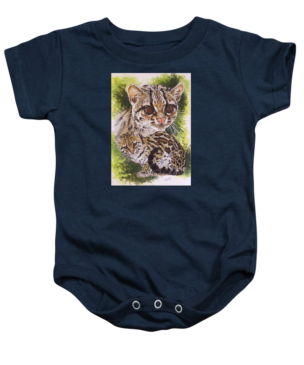 Margay Baby Onesie featuring the mixed media Bantam by Barbara Keith