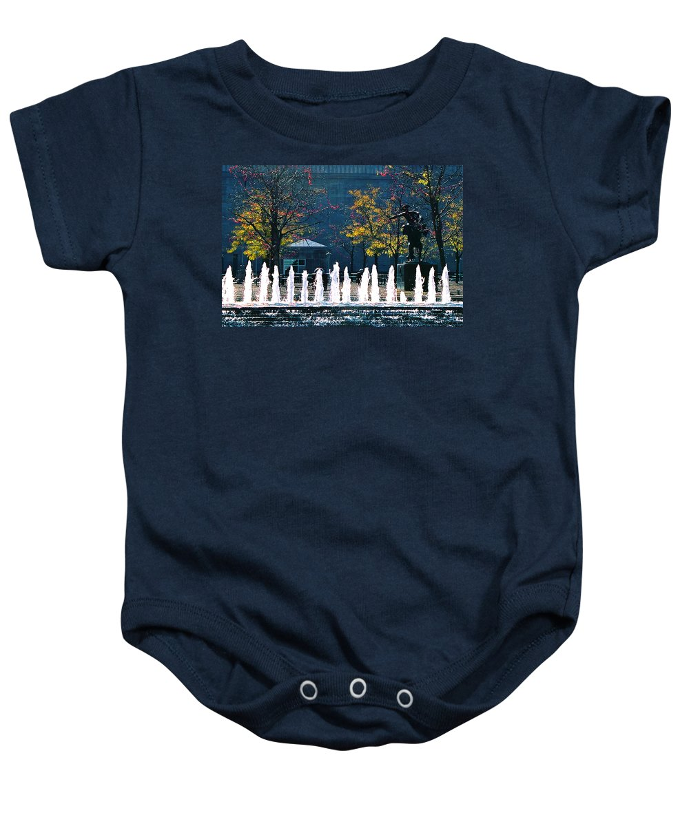Landscape Baby Onesie featuring the photograph Barney Allis Plaza-kansas City by Steve Karol