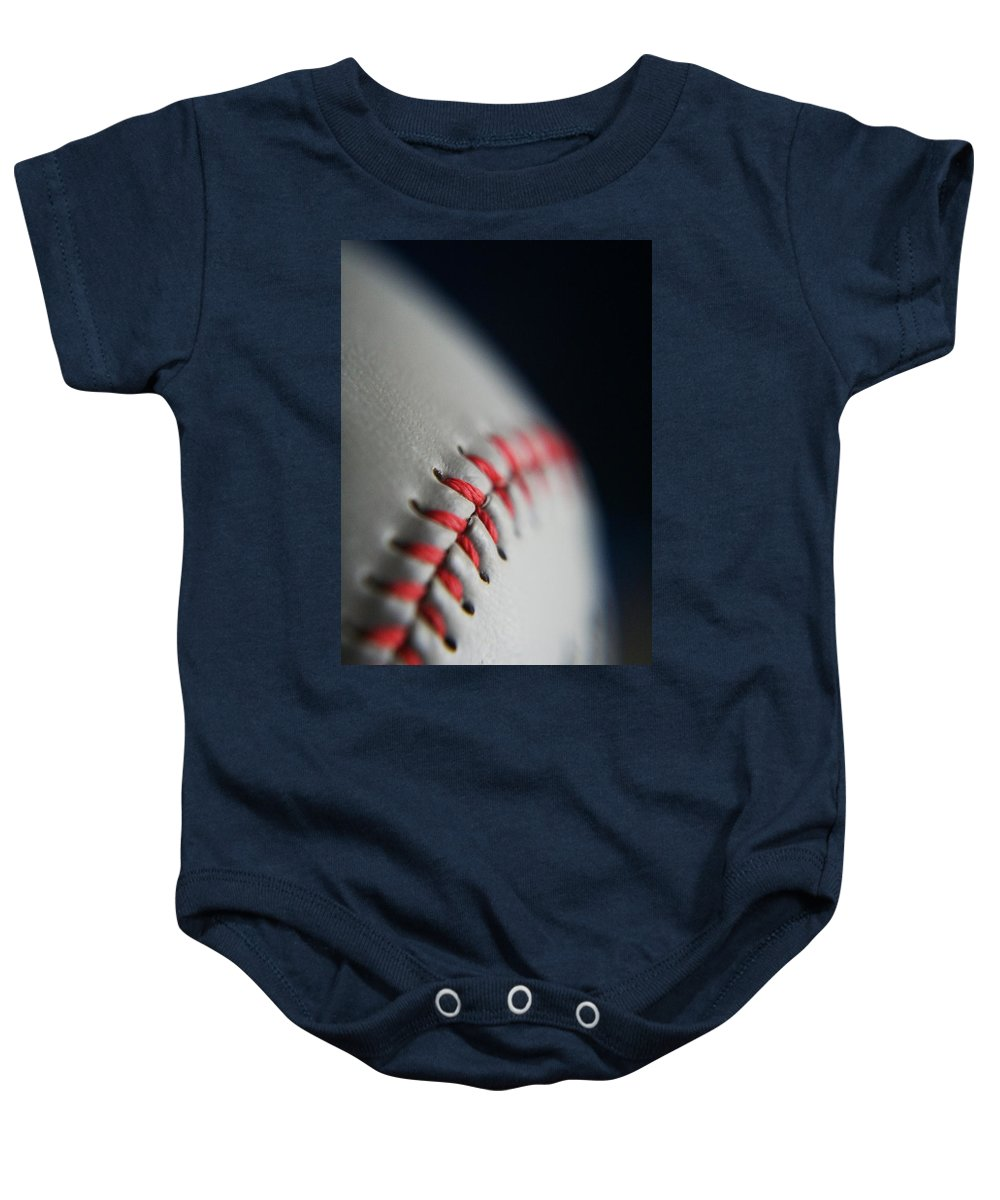Photograph Baby Onesie featuring the photograph Baseball Fan by Rachelle Johnston
