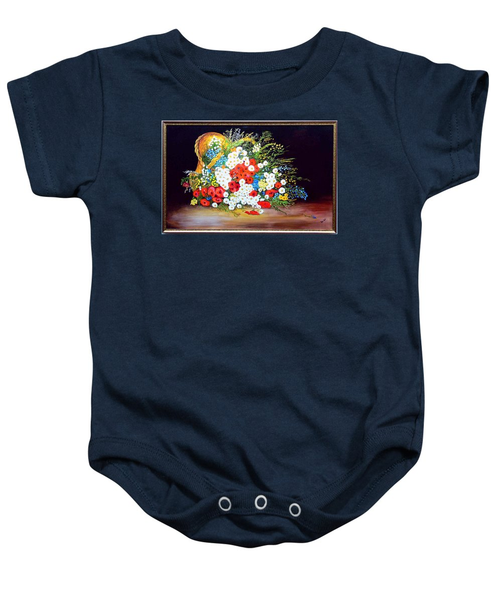 Summer Baby Onesie featuring the painting Basket with summer flowers by Helmut Rottler