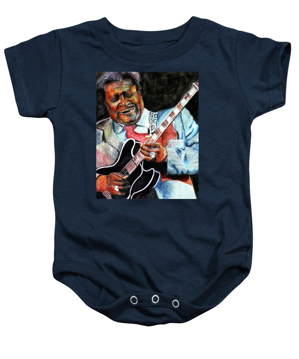 Bbking Baby Onesie featuring the painting Bbking by Frances Marino