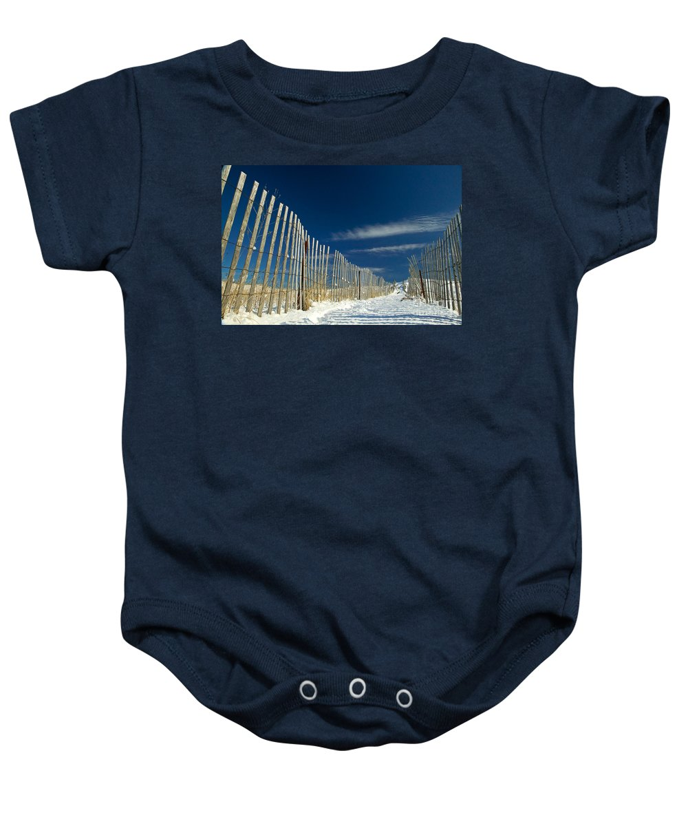 Beach Fence Baby Onesie featuring the photograph Beach Fence And Snow by Matt Suess