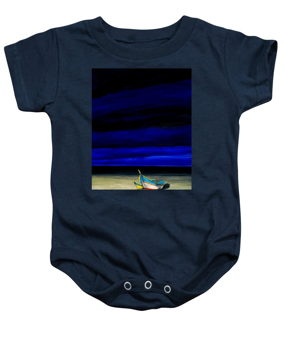 Landscape Painting Baby Onesie featuring the painting Beached by Edith Peterson-Watson