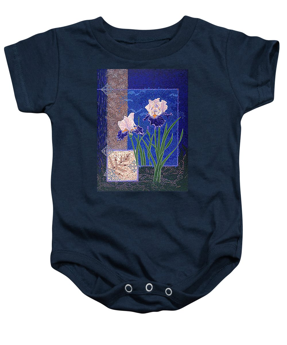 Irises Baby Onesie featuring the painting Bearded Irises Fine Art Print Giclee Ladybug Path by Baslee Troutman