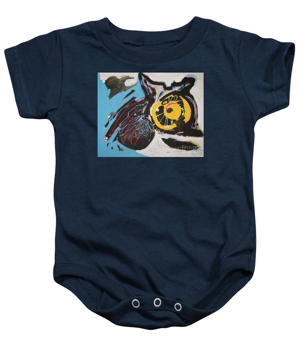 Abstract Cat Paintings Baby Onesie featuring the painting Being Lazy by Seon-Jeong Kim