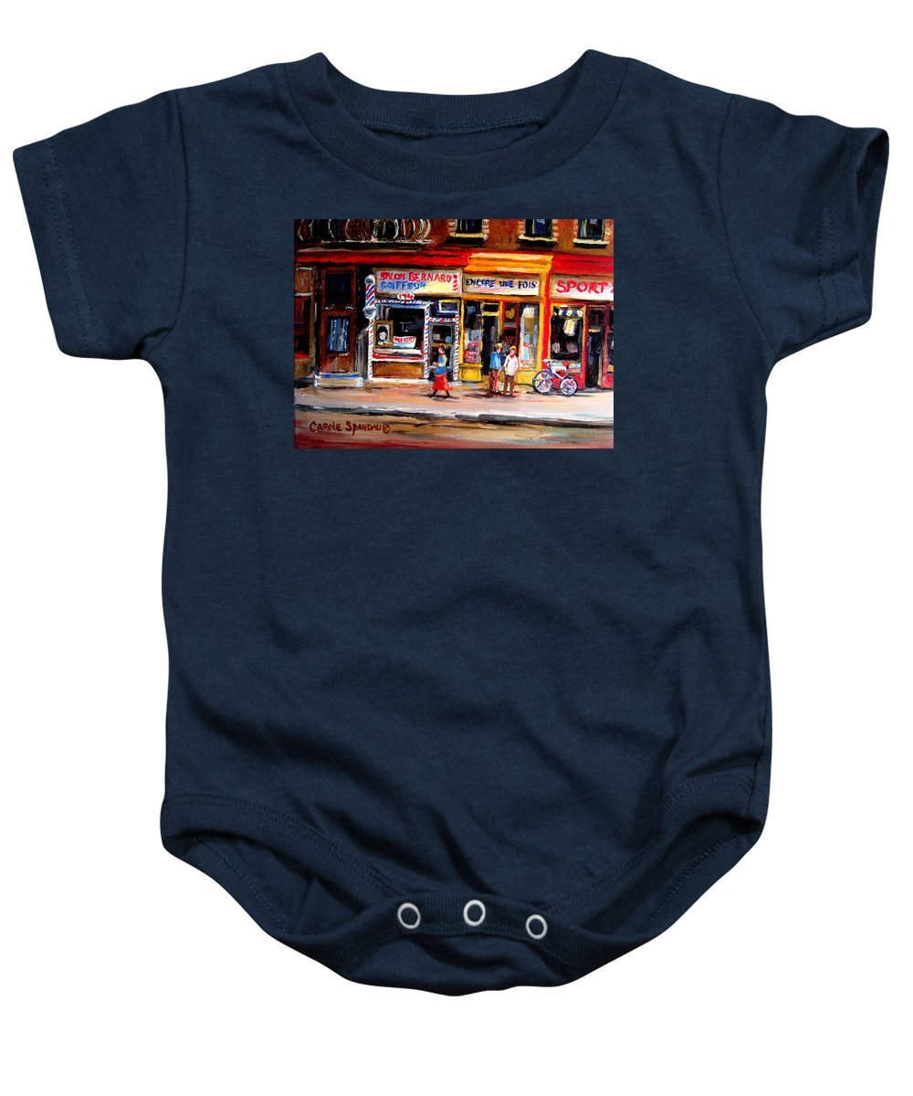 Bernard Barbershop Baby Onesie featuring the painting Bernard Barbershop by Carole Spandau