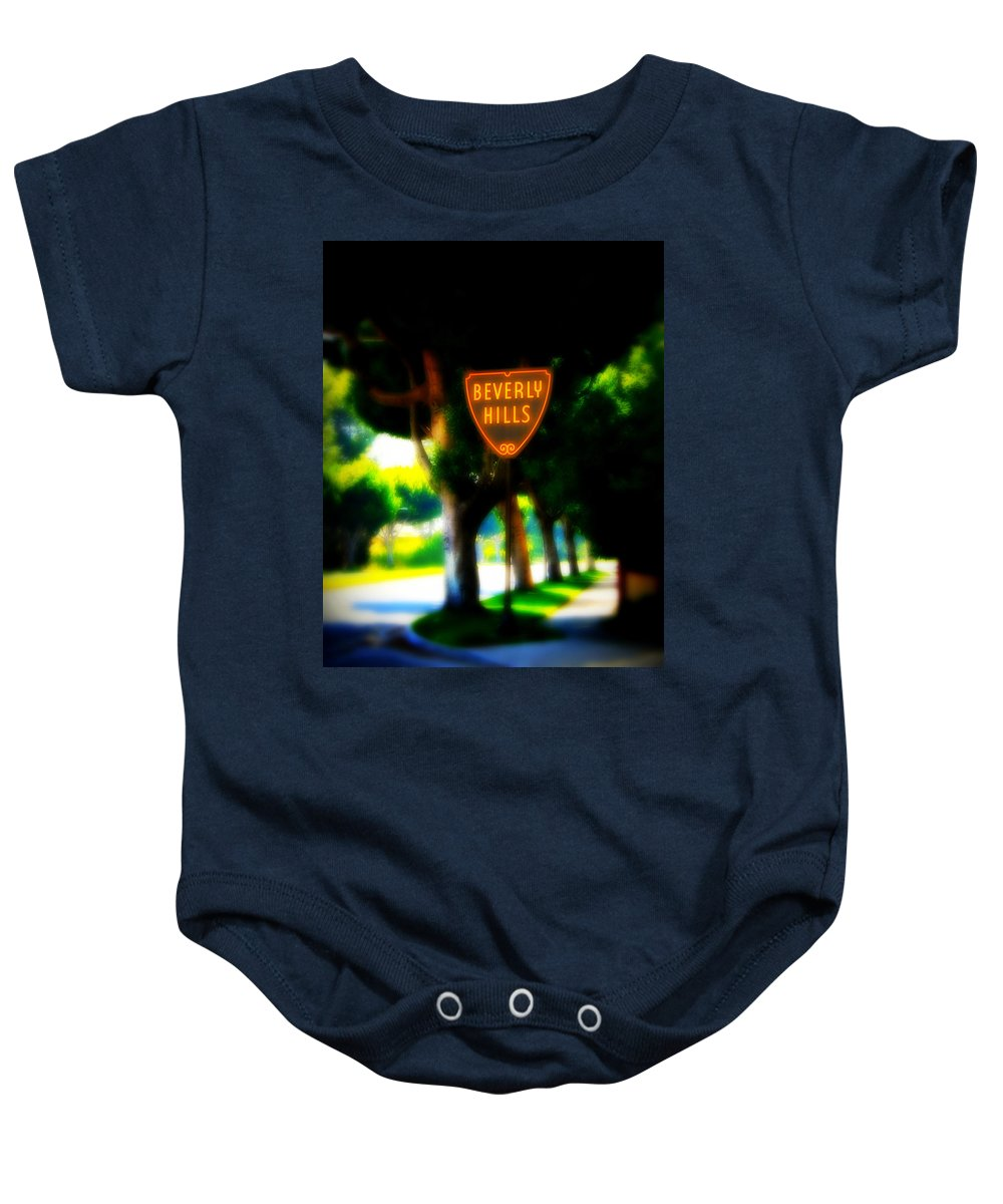 Beverly Hills Baby Onesie featuring the photograph Beverly Hills Sign by Perry Webster