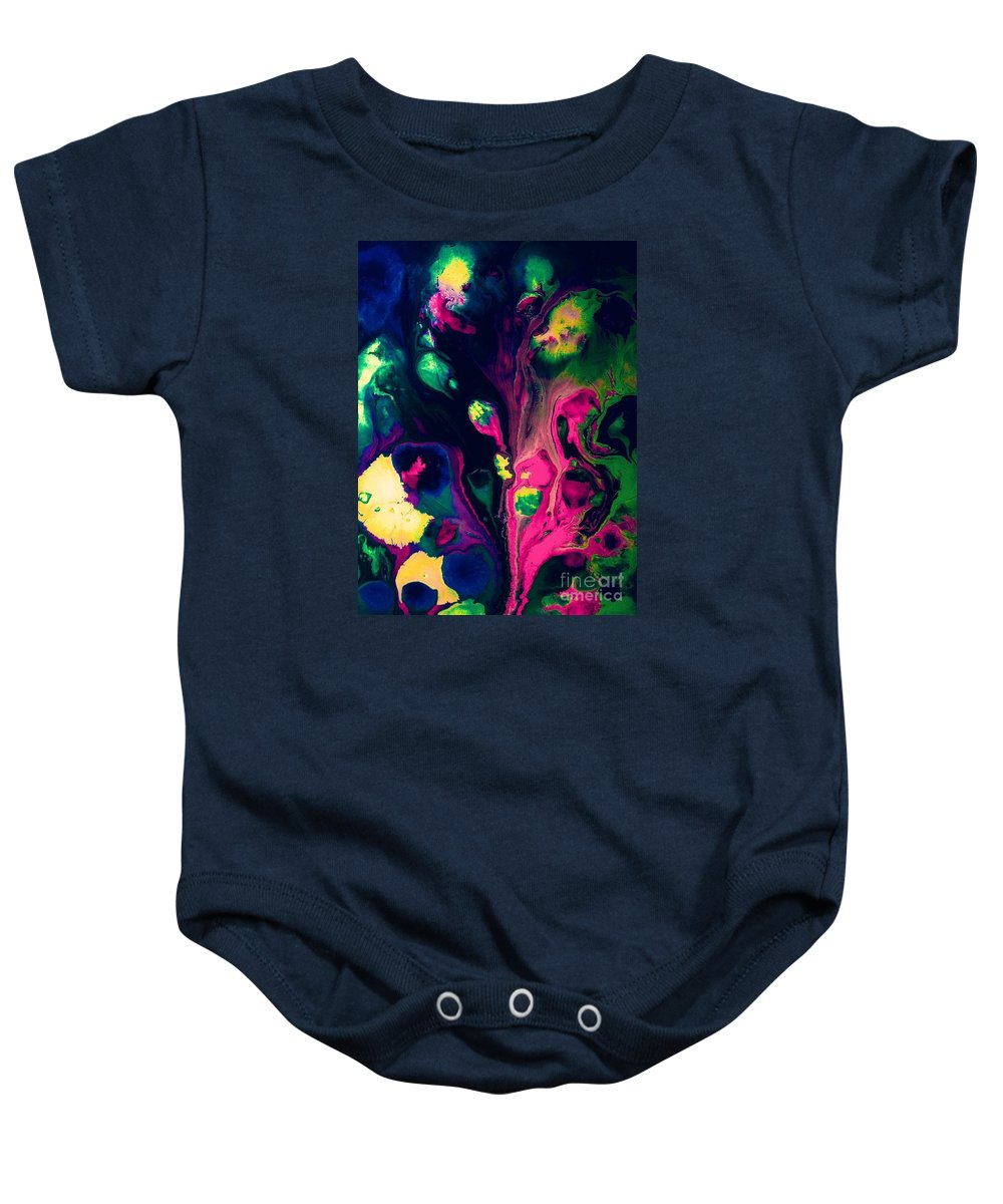 Abstract Baby Onesie featuring the painting Bewitched by Elle Justine