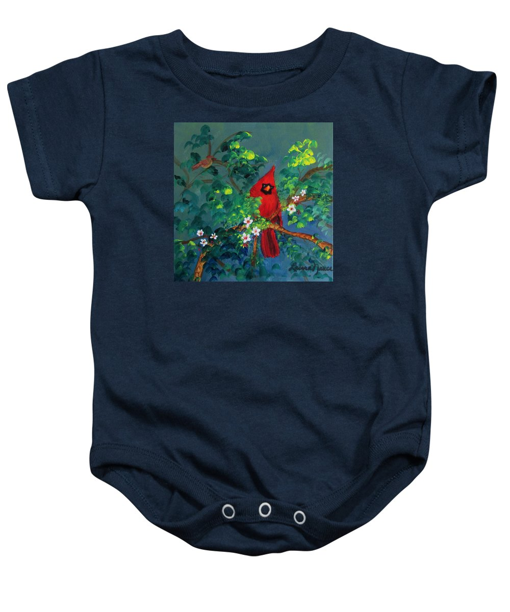 Cardinals Baby Onesie featuring the painting Big Red by Laura Nance