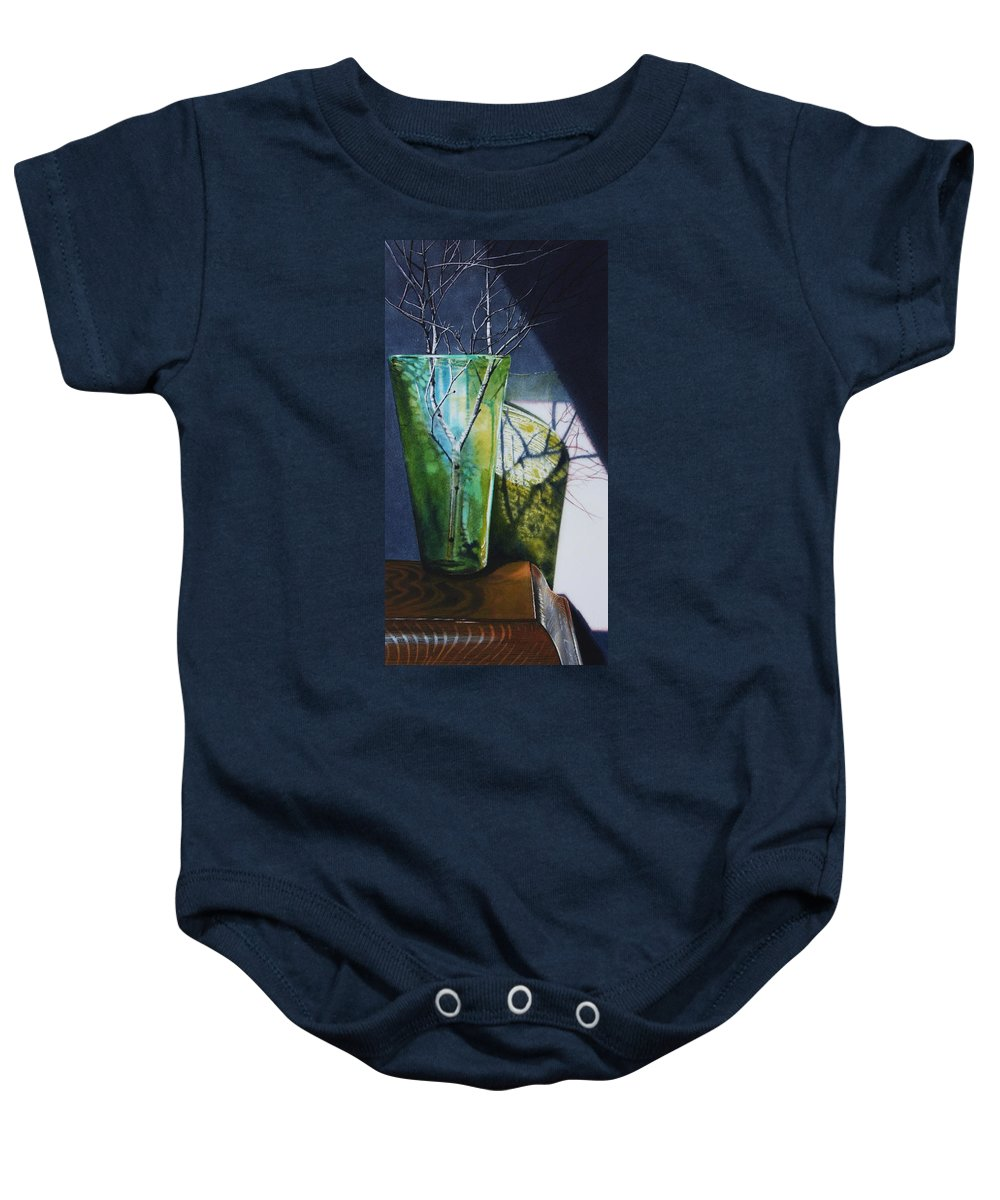 Vase Baby Onesie featuring the painting Birch Branches by Denny Bond