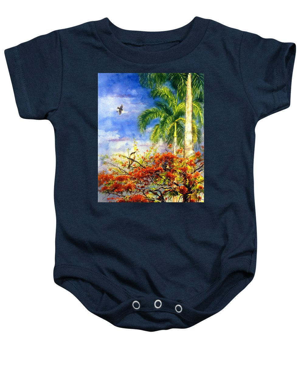 Watercolor Paintings Baby Onesie featuring the painting Bird Protected By Her Mother by Estela Robles