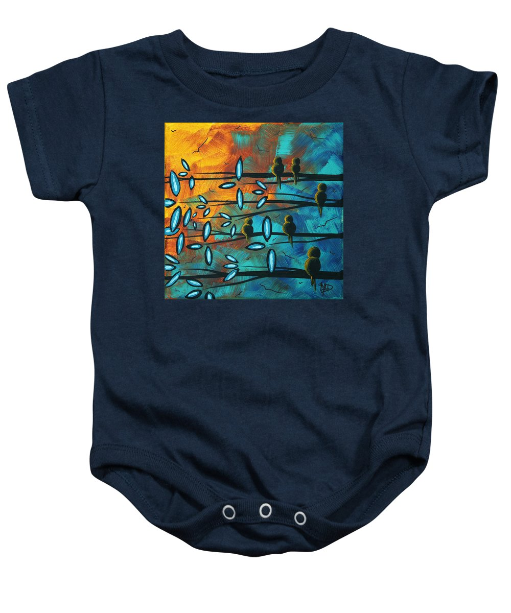 Art Baby Onesie featuring the painting Birds Of Summer By Madart by Megan Duncanson