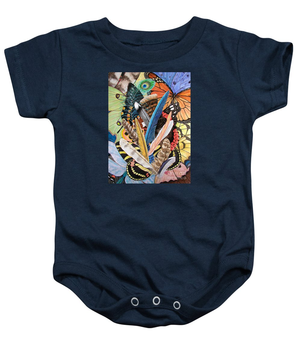 Feathers Baby Onesie featuring the painting Bits Of Flight by Lucy Arnold