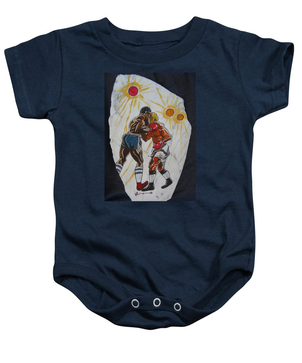 Boxing Baby Onesie featuring the mixed media Black And White by V Boge