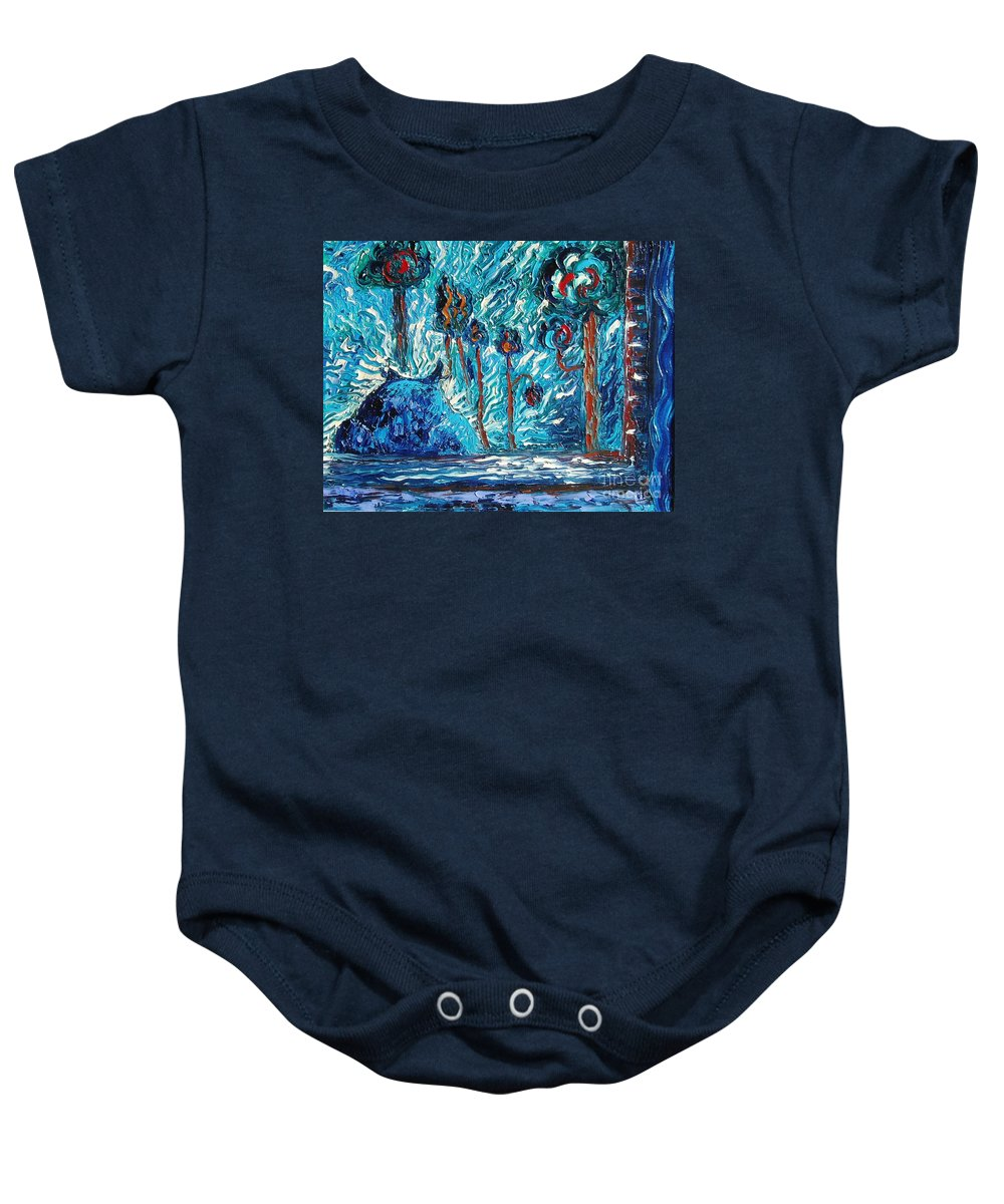 Abstract Cat Paintings Baby Onesie featuring the painting Black Cat by Seon-Jeong Kim