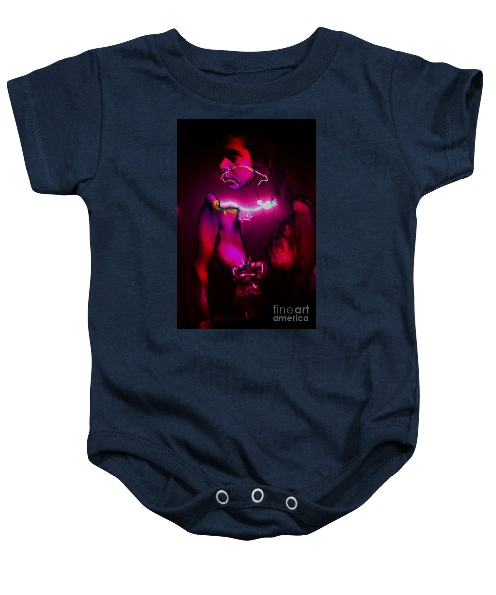 Clay Baby Onesie featuring the pyrography Black Light Passion by Clayton Bruster