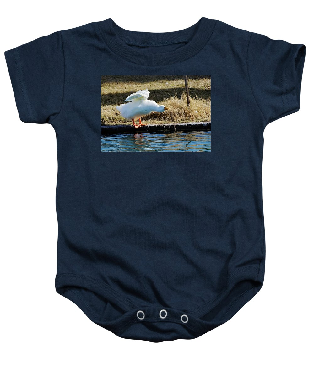 Goose Baby Onesie featuring the photograph Blast Off by Phyllis Denton