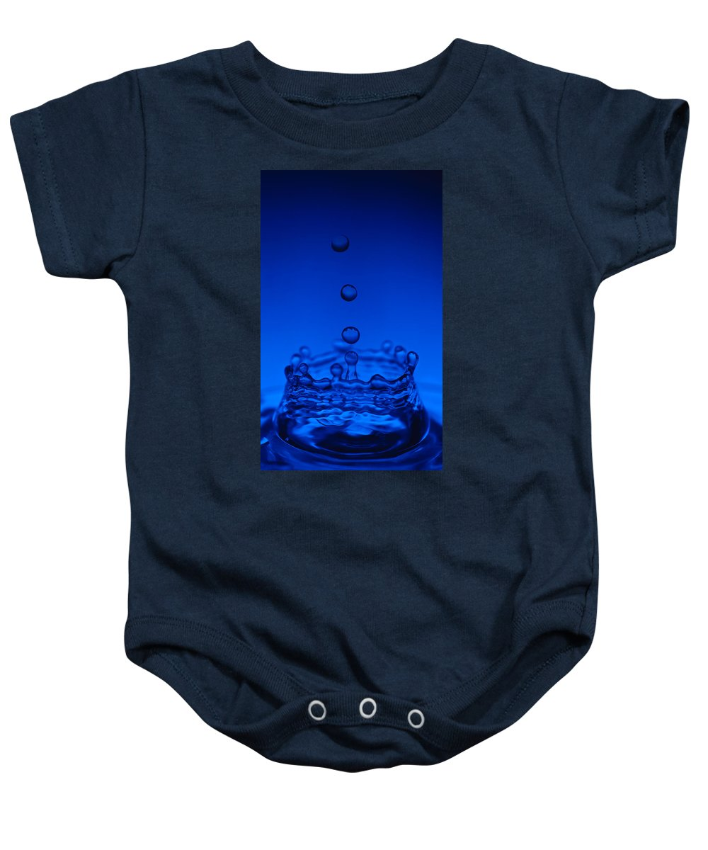 Water Baby Onesie featuring the photograph Blue Drop by Steve Gadomski