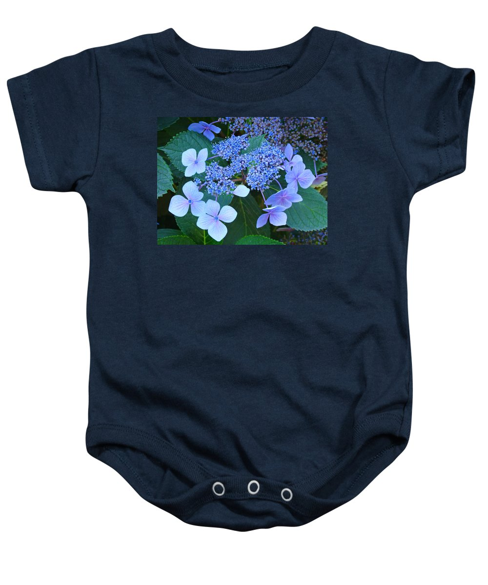 Nature Baby Onesie featuring the photograph Blue Hydrangea Flowers Floral Art Baslee Troutman by Baslee Troutman